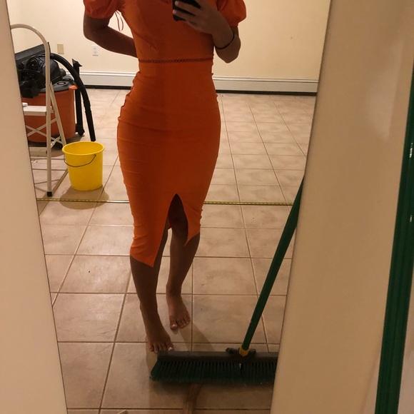 Dresses & Skirts - Orange midi dress off the shoulder